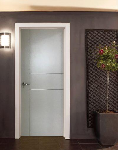 Laminate Bedroom Door Silver Stainless Steel Stripe