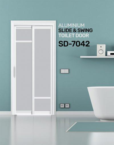 SD 7042 HDB Aluminum Slide & Swing Toilet Door
