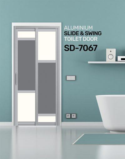 SD 7067 HDB Aluminum Slide & Swing Toilet Door