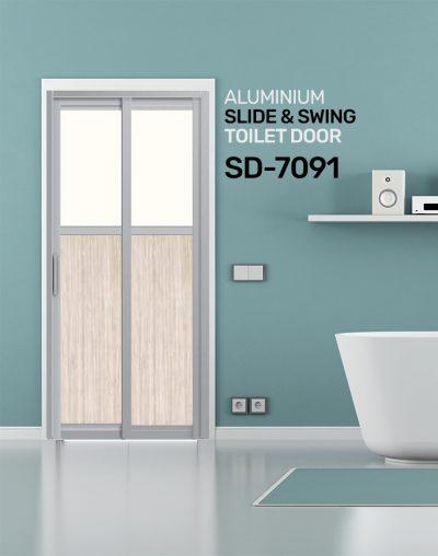 SD 7091 Aluminium Slide & Swing Toilet Door