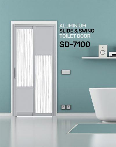 SD 7100 HDB Aluminum Slide & Swing Toilet Door
