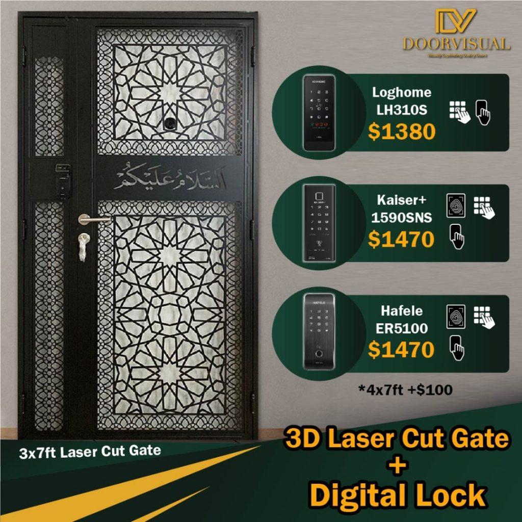Laser Cut Gate With Digital Gate Lock Bundle Package